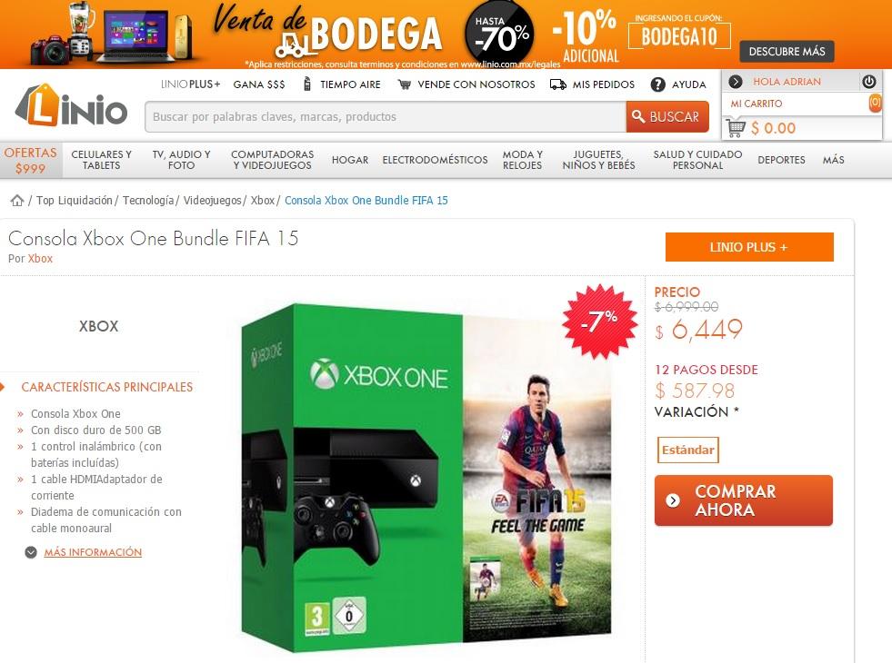 Linio: Xbox one, Playstation 4 y Xbox 360 consolas y juegos en precios rebajados