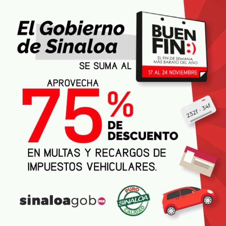 Buen Fin 2017 Gobierno de Sinaloa: 75% de descuento en trámites vehiculares