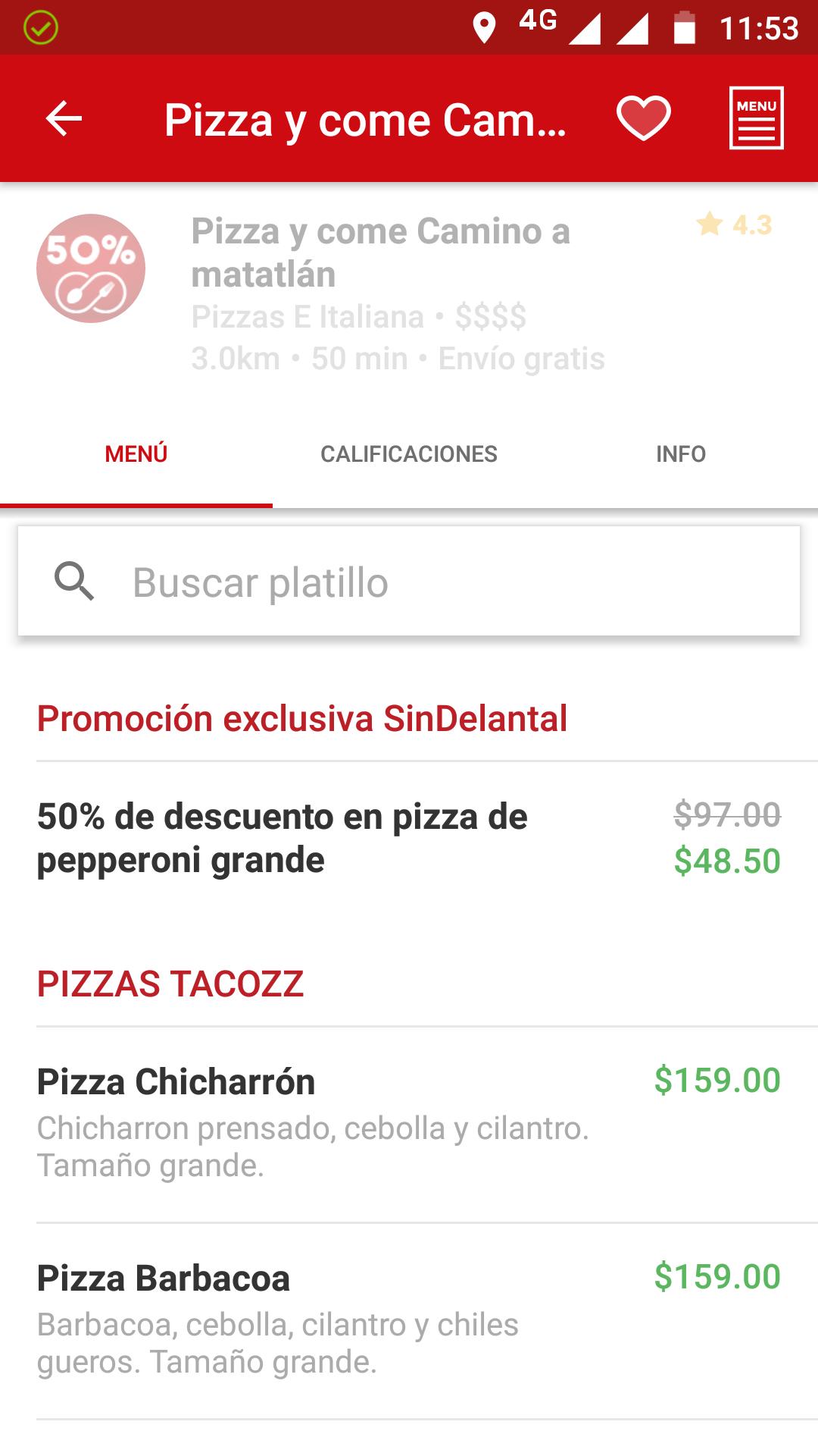 Sin Delantal: vendedor Pizza y come, pizza grande de pepperoni $48.50