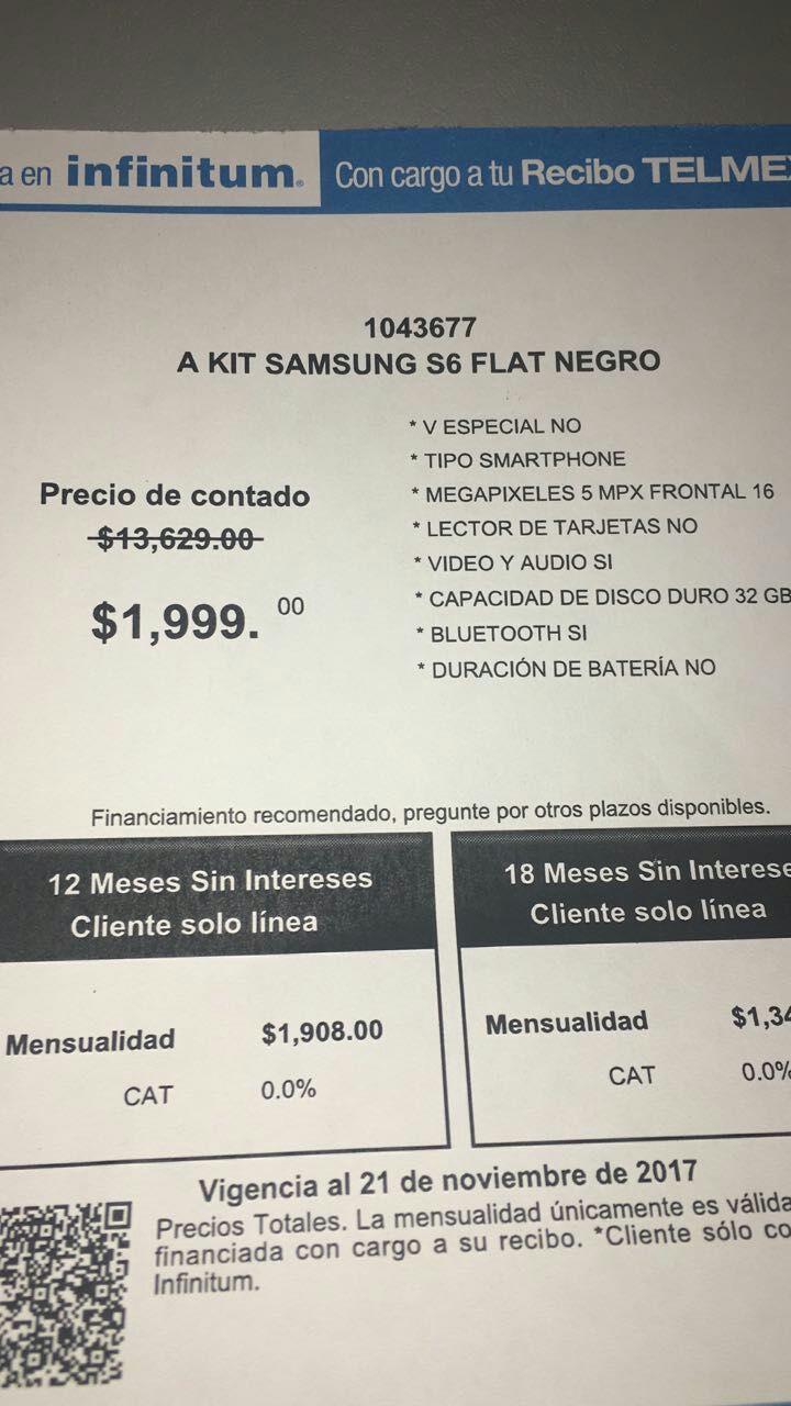 Tienda Telmex: Samsung Galaxy S6 a $1,999 y LG magna h500 a $499
