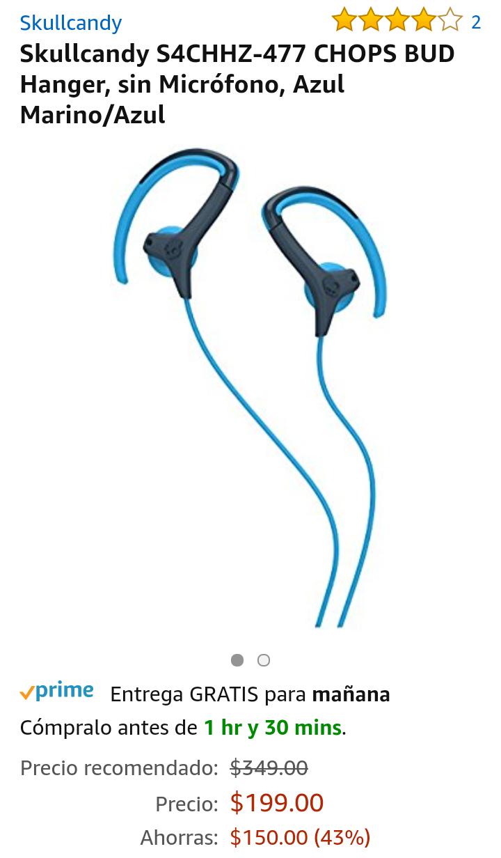Buen Fin 2017 en Amazon: Audífonos Skullcandy S4CHHZ-477 CHOPS BUD Hanger, sin Micrófono, Azul