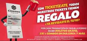 Cinemex Ticketizate: boletos gratis, 2x1 y más con compra