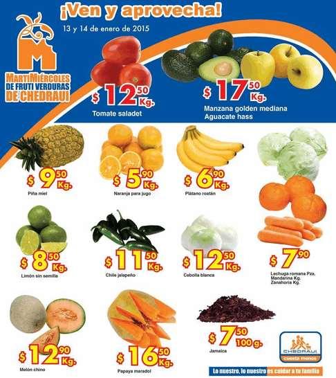Ofertas de frutas y verduras en Chedraui 13 y 14 de enero
