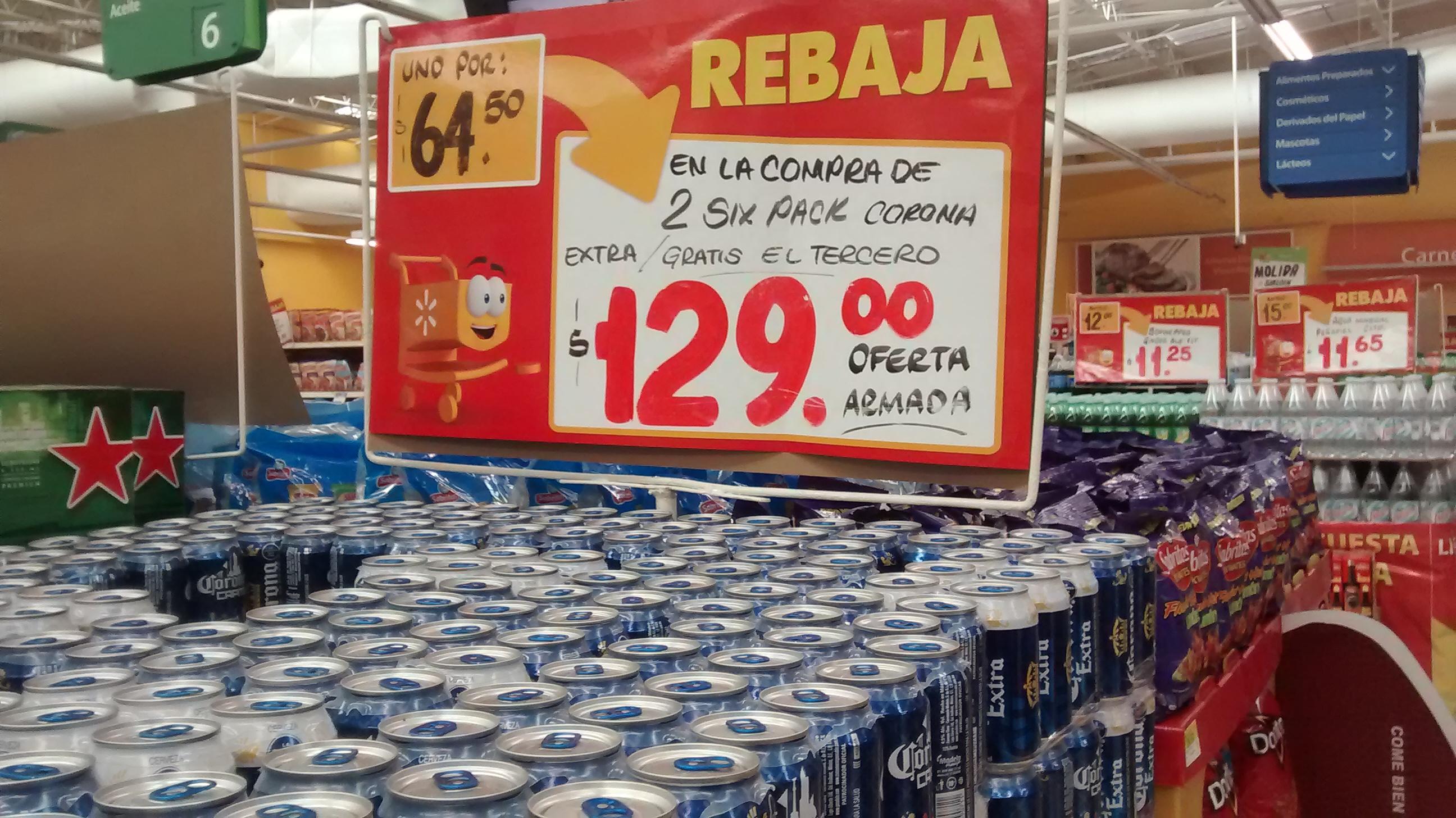 Walmart: 3 six de cerveza Corona Extra por $129