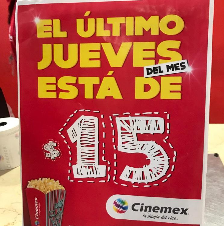 Cinemex Tampico: Boletos a $15 último jueves del mes