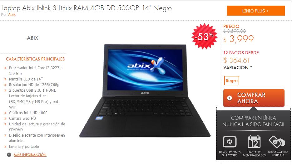 """Linio: Laptop AbiX con Procesador Intel Core i3 3227 a 1.9 Ghz Pantalla LED de 14"""" HD, 4gb de memoria RAM $3,399"""