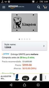 Buen Fin 2017 en Amazon: SSD UV400 Kingston 120Gb