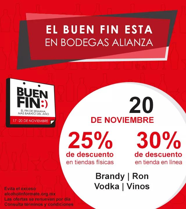 Buen Fin 2017 en Bodegas Alianza: 25% desc. en tiendas físicas ó 30% desc. en tienda en línea en brandy, ron, vodka, vinos (sólo hoy)