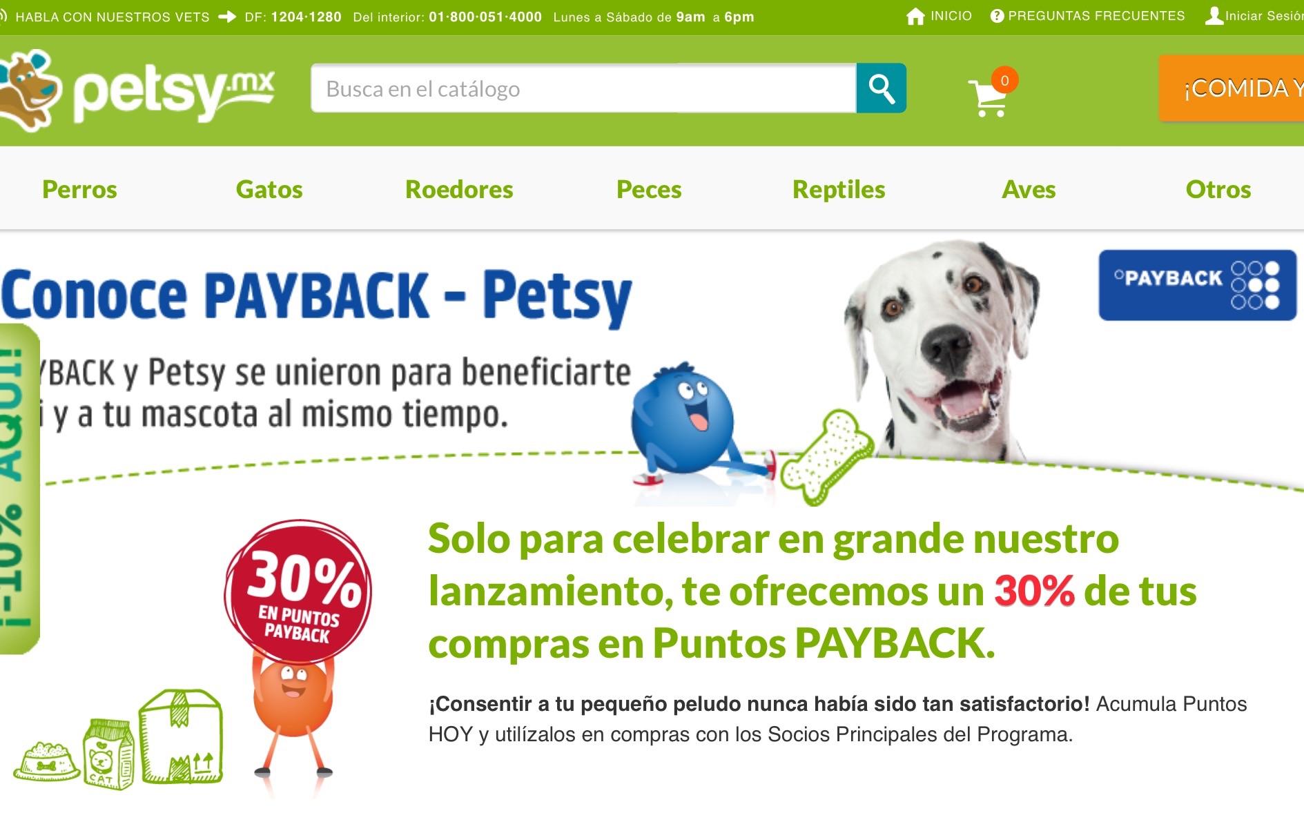 Petsy, 30% en Monedero Payback