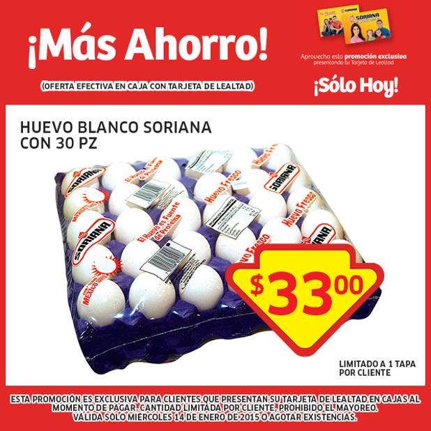 Soriana: tapa de Huevo $33