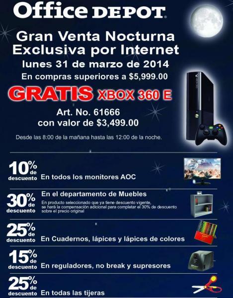 Venta Nocturna Office Depot marzo 31: gratis Xbox 360 con compra mínima
