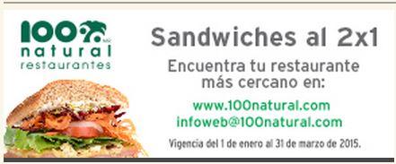 100% Natural: Sandwiches al 2x1 con TDC Banorte