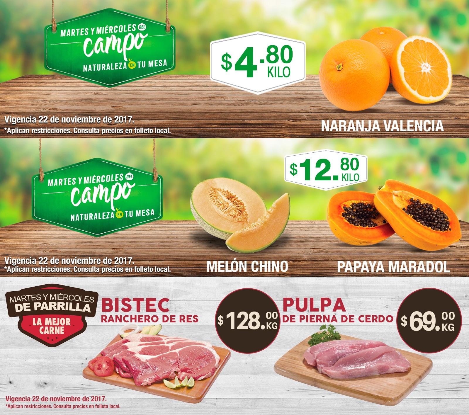 Comercial Mexicana y MEGA: Martes y Miércoles del Campo 21 y 22 de Noviembre: Naranja Valencia $4.80 kg... Melón Chino $12.80 kg... Papaya Maradol $12.80 kg.