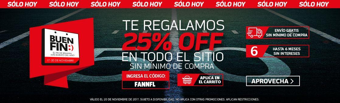 Tienda NFL México: Cupón 25% de descuento