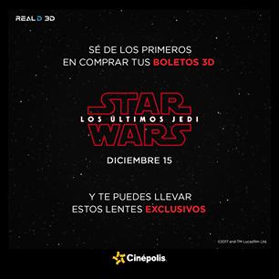 Cinépolis: Preventa Star Wars + Lentes 3D GRATIS!