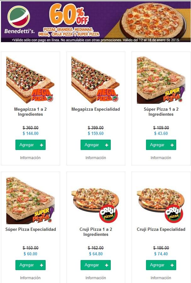 Benedetti´s: 60% de Descuento en todas las pizzas comprando en Hellofood