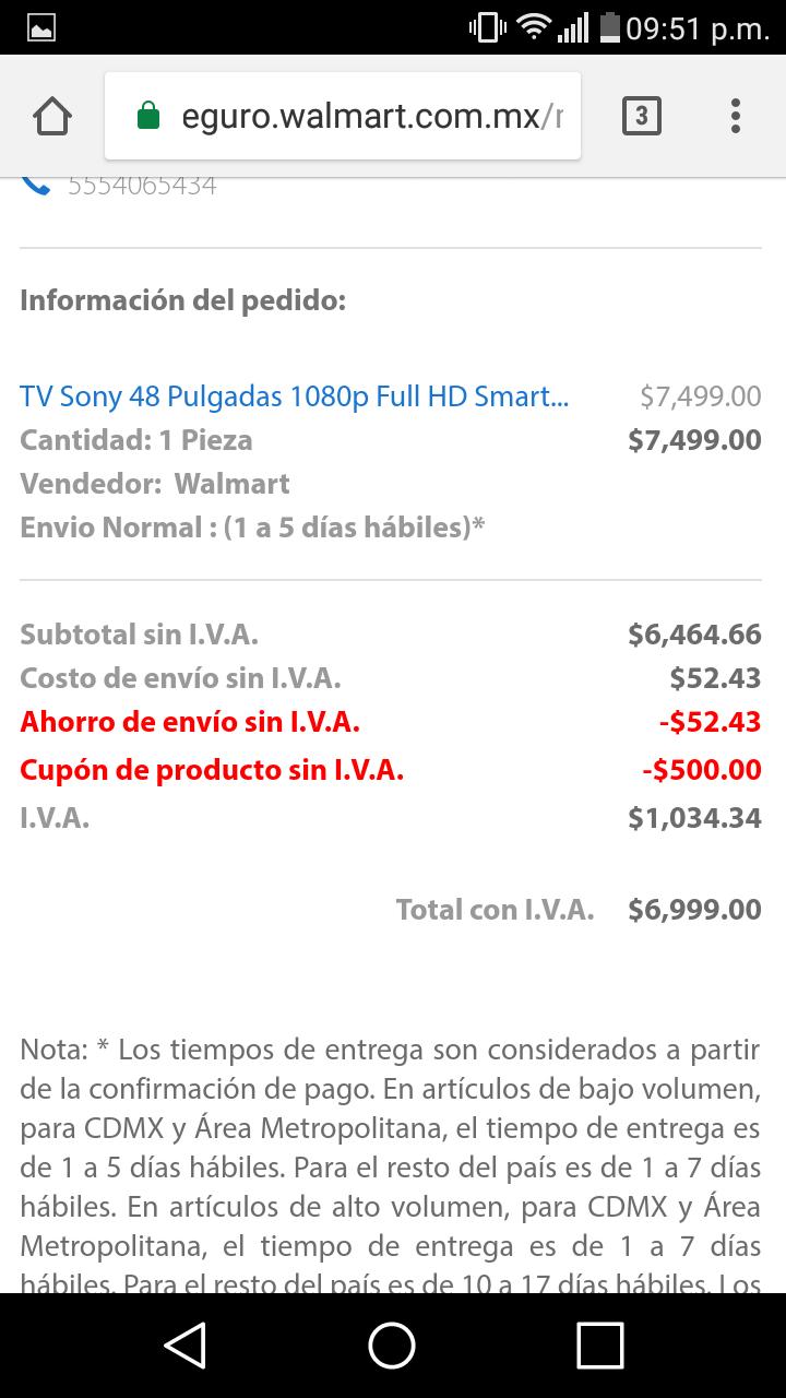 """Buen Fin 2017 en Walmart: Pantalla Sony 48"""" 48W650D usando cupon TVBUENFIN17  queda en 6999"""