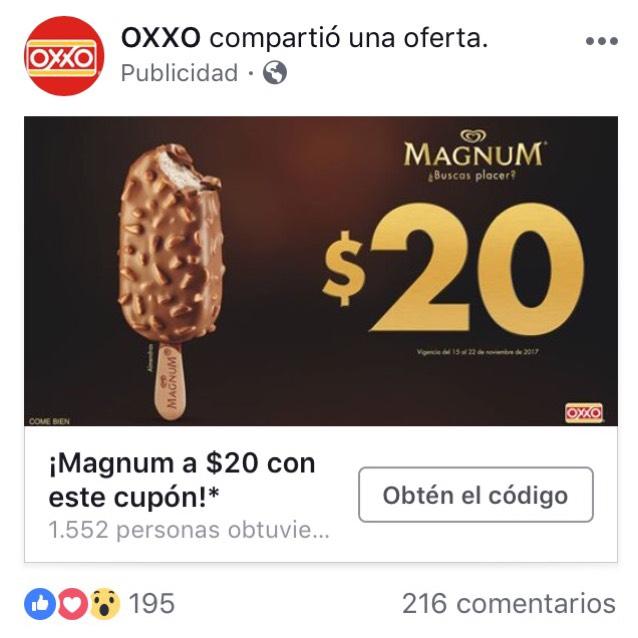 Oxxo/ Magnum a solo $20 con cupón
