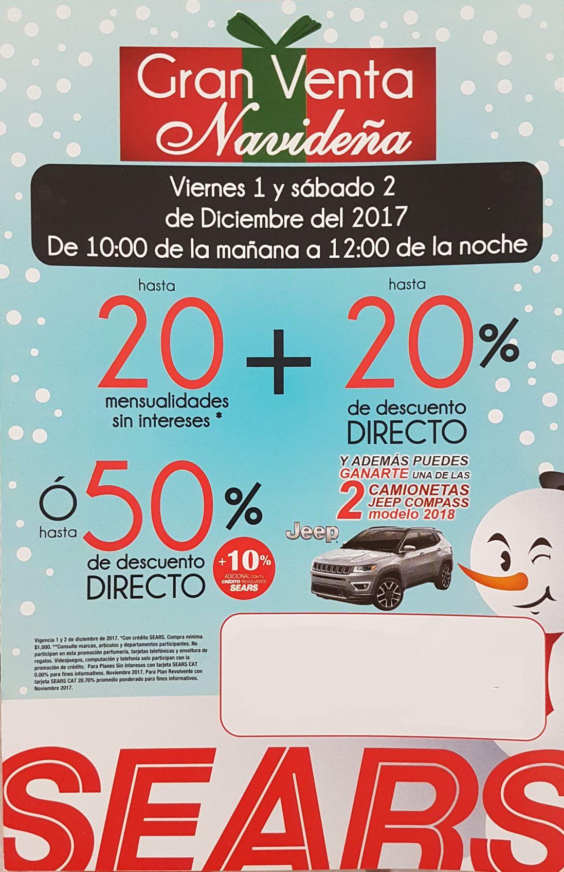 Sears: Gran Venta Navideña: Hasta 20MSI + hasta 20% de Descuento Directo...