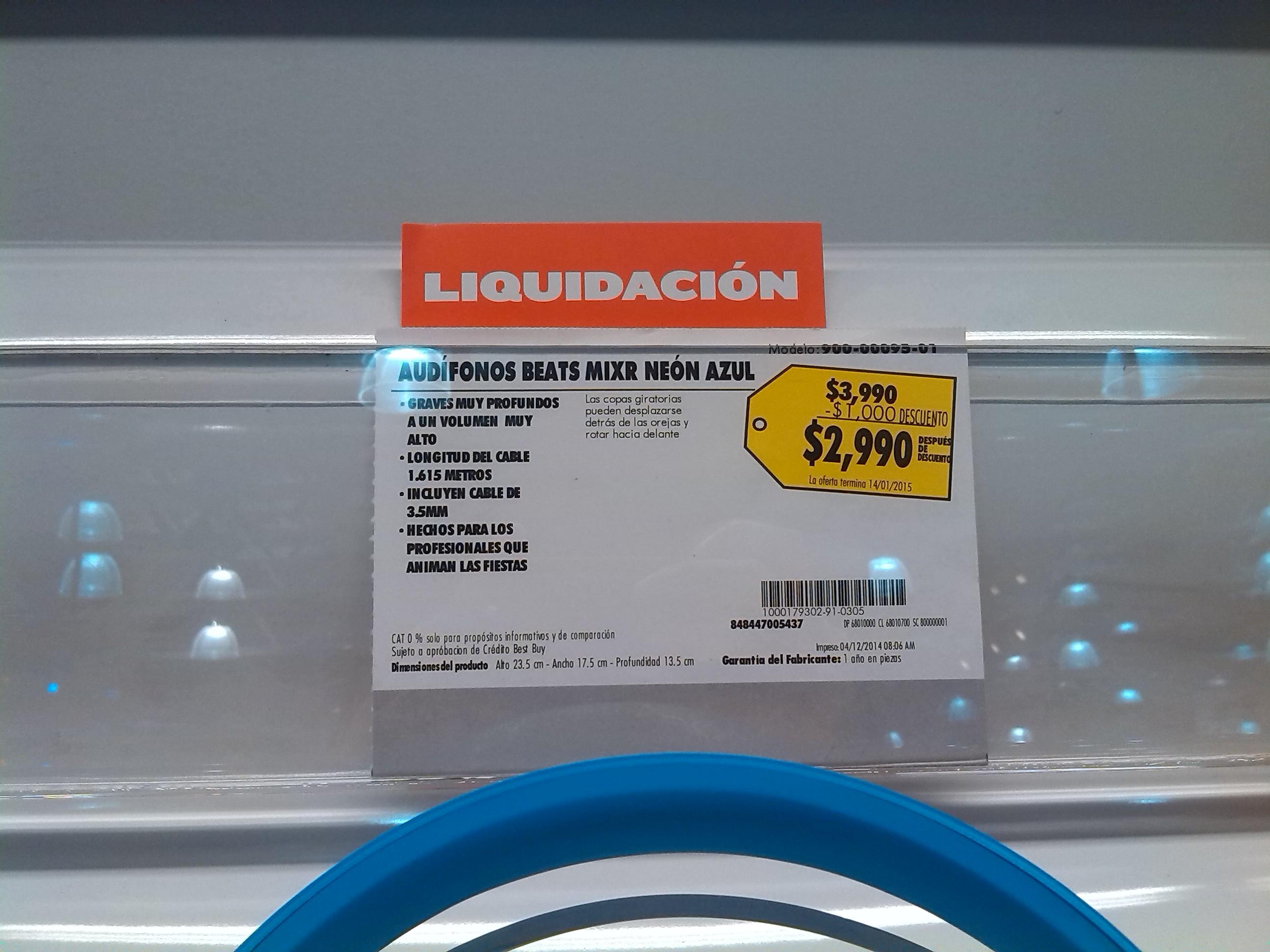 Best Buy: Audifonos beats MIXR neon $2,990