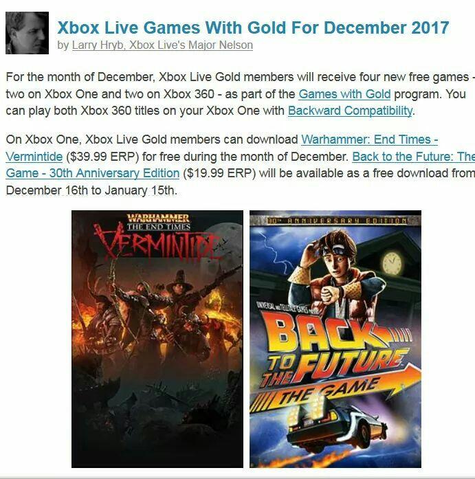 Xbox: Games with Gold diciembre