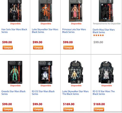 Walmart: Figuras de Star Wars Wars Black series en $99