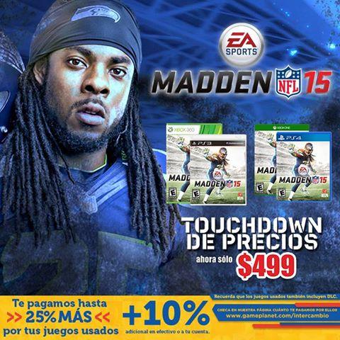 Game Planet: Madden NFL 15 $499 (todas las consolas)