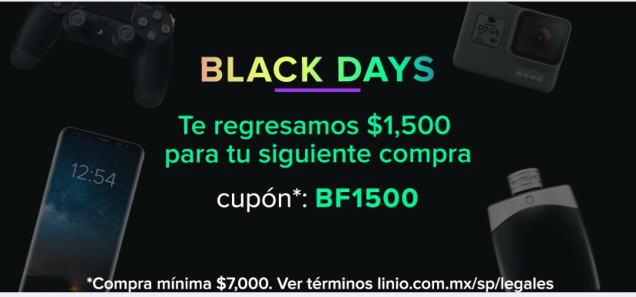 Black Friday 2017 Linio: cashback de $1,500 en compras de $7,000 ó más