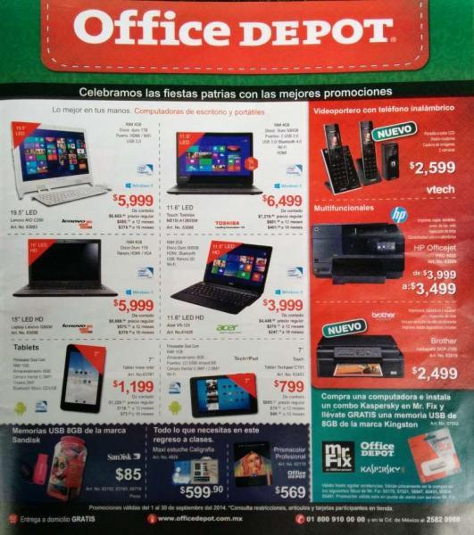 Folleto de ofertas en Office Depot septiembre