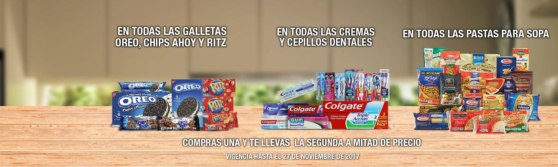 La Comer: 2 x 1 1/2 en todas cremas y cepillos dentales... en todas las galletas Oreo, Chips Ahoy y Ritz... y en pastas para sopa
