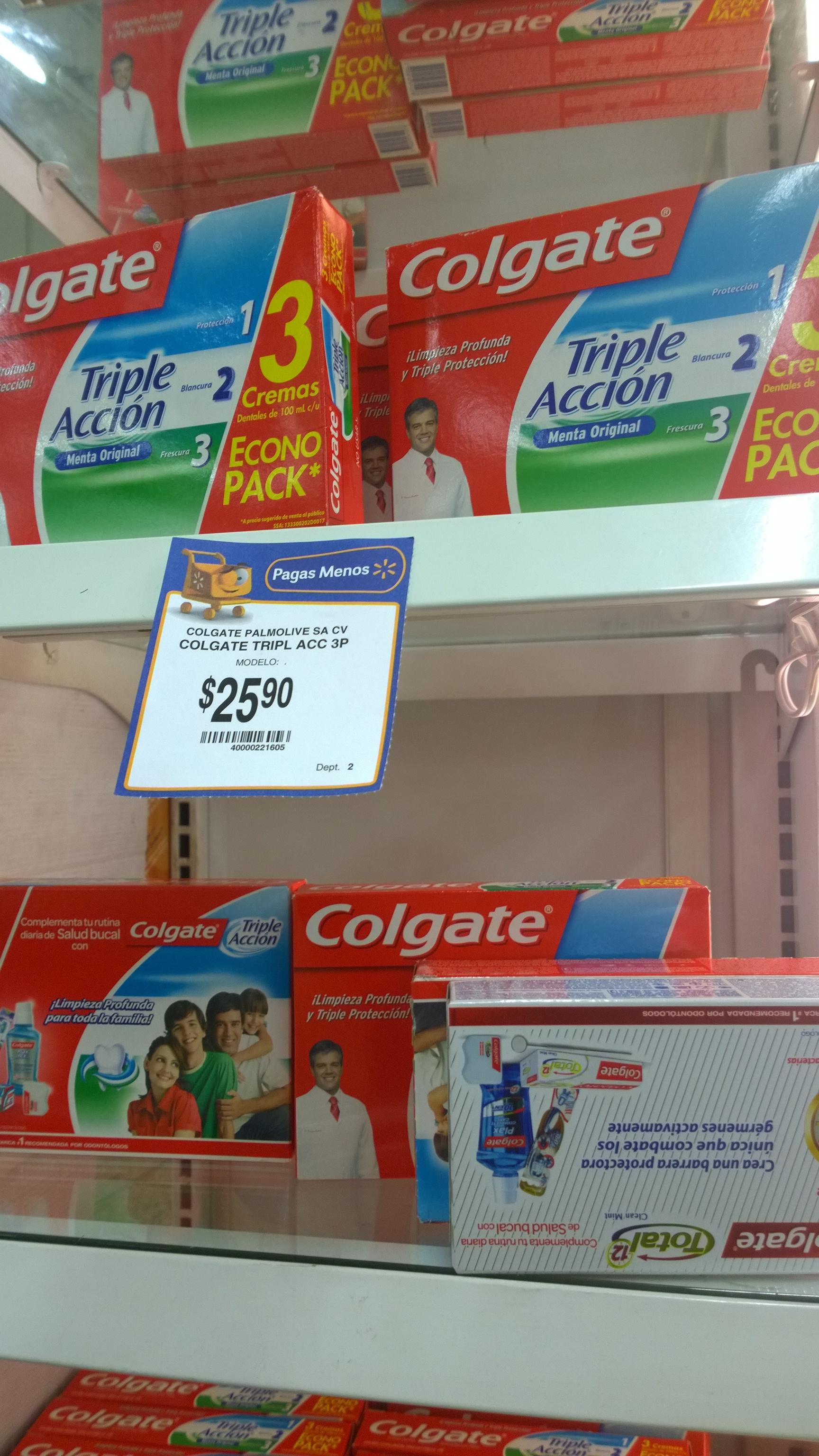 Walmart 3 pastas Colgate 3 en 1 a $25.90