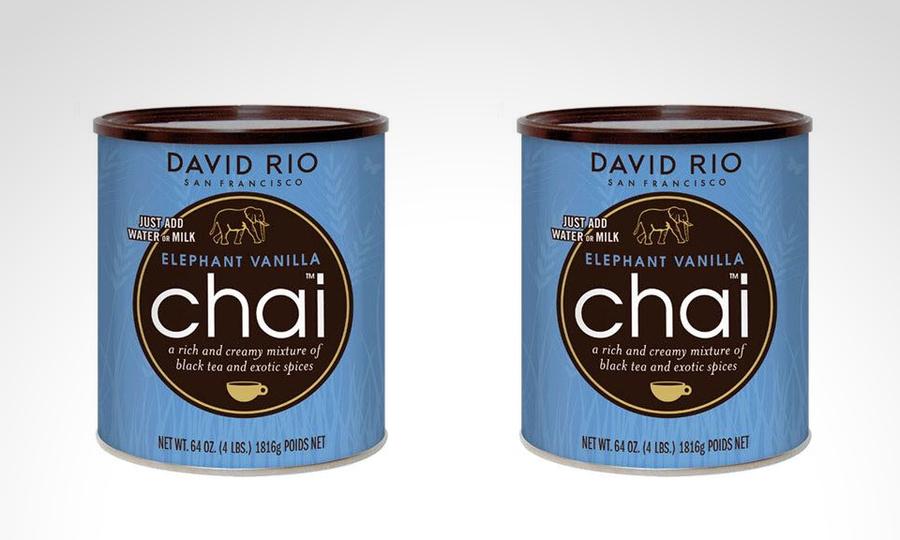 Groupon: 4 botes de té Chai Elephant Vanilla David Río de 1.8 k