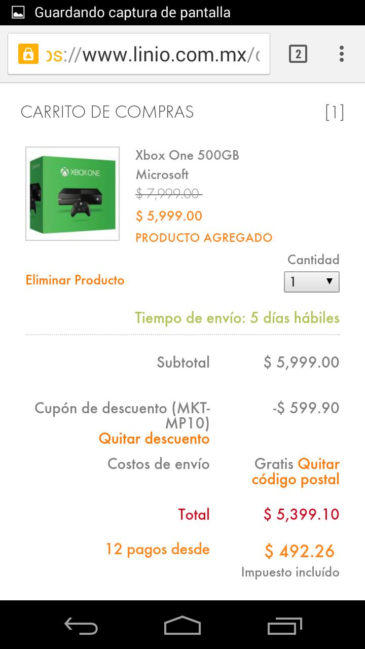 Linio: Xbox One $5,399 usando cupón