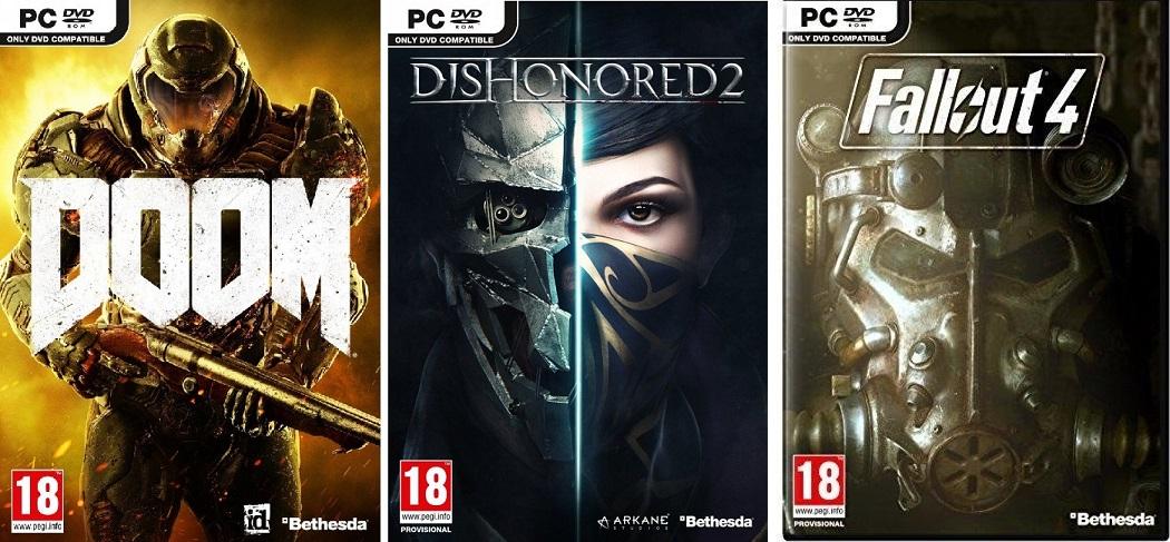 CDkeys: Doom ($135), Dishonored 2 ($159), Fallout 4 ($159) para PC (Claves de Steam)