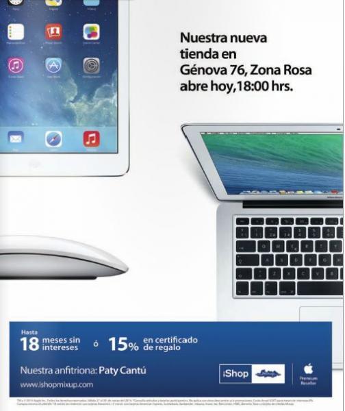 Inauguración iShop Mixup Zona Rosa: 15% de bonificación o meses sin intereses