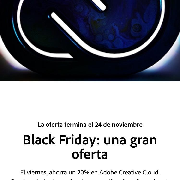 Black Friday 2017 Adobe: suite 20% descuento mensual