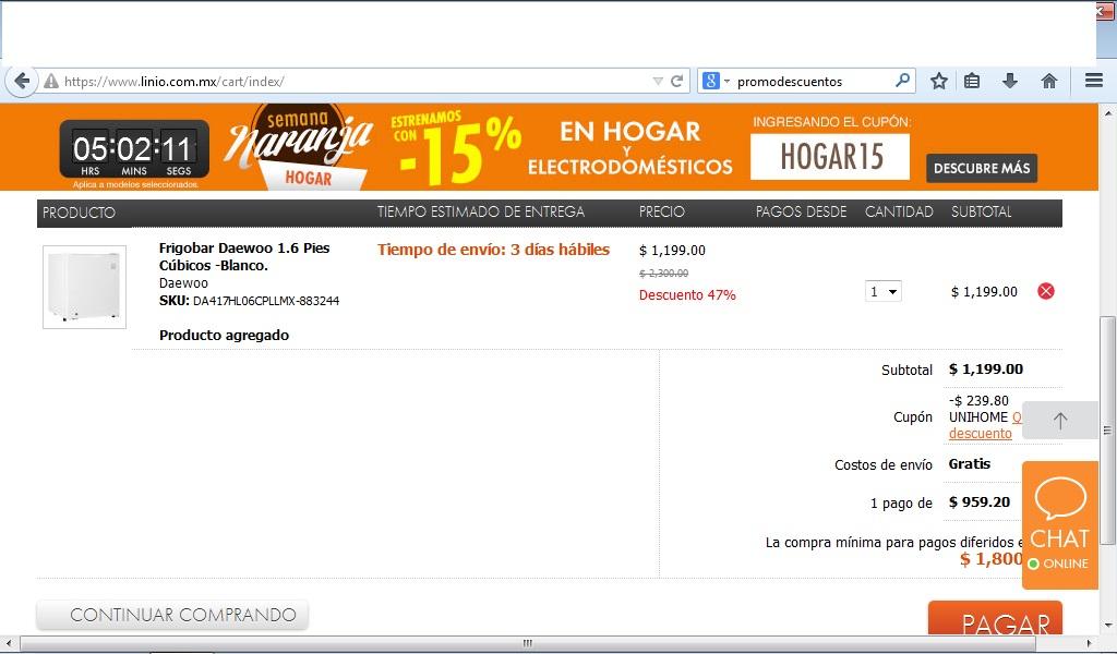 Linio: Frigobar Daewoo 1.6 Pies Cúbicos $959