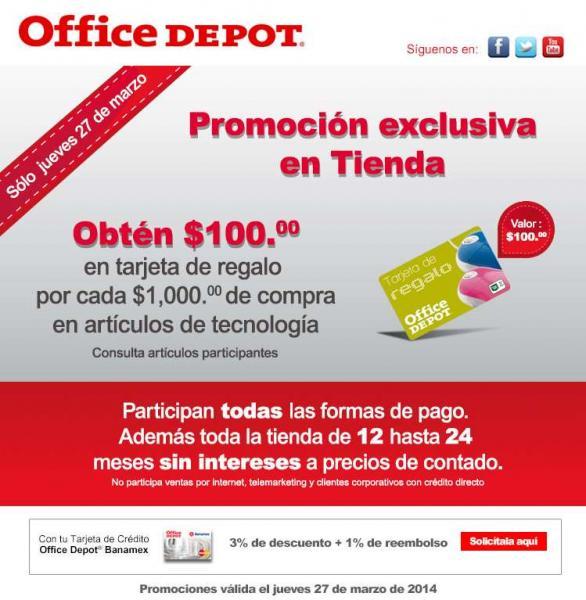 Office Depot: $100 de bonificación por cada $1,000 de compra en tecnología