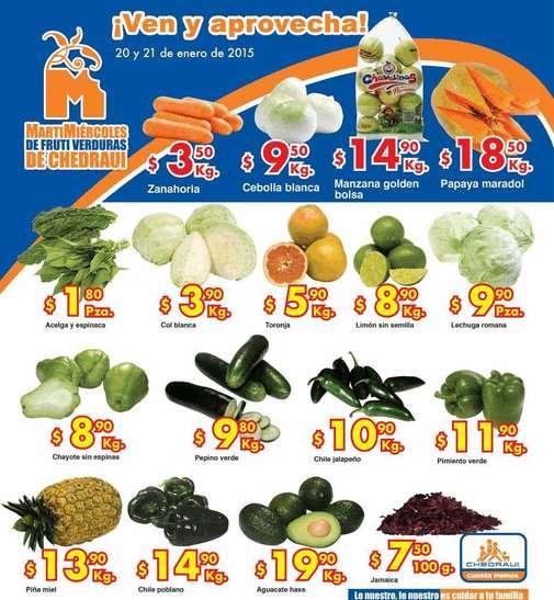 Ofertas de frutas y verduras en Chedraui 20 y 21 de enero