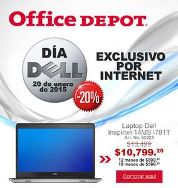 Office Depot: 20% de descuento en computadoras DELL (Exclusivo por Internet)