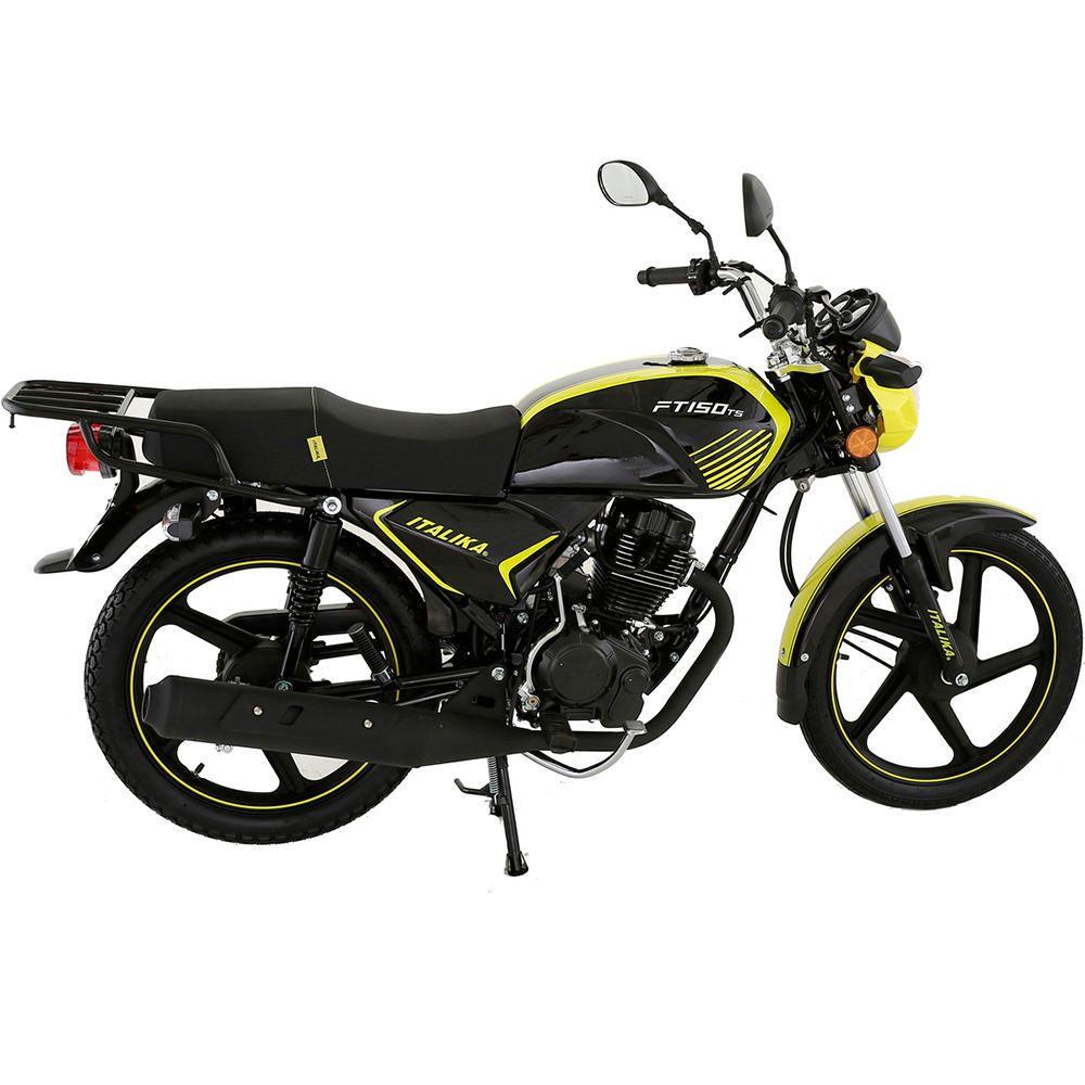 Elektra: MOTOCICLETA DE TRABAJO ITALIKA FT 150 TS NEGRO CON AMARILLO