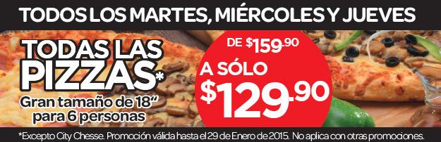 """City Club: Pizza 18"""" (para 6 personas) $130 de martes a jueves"""