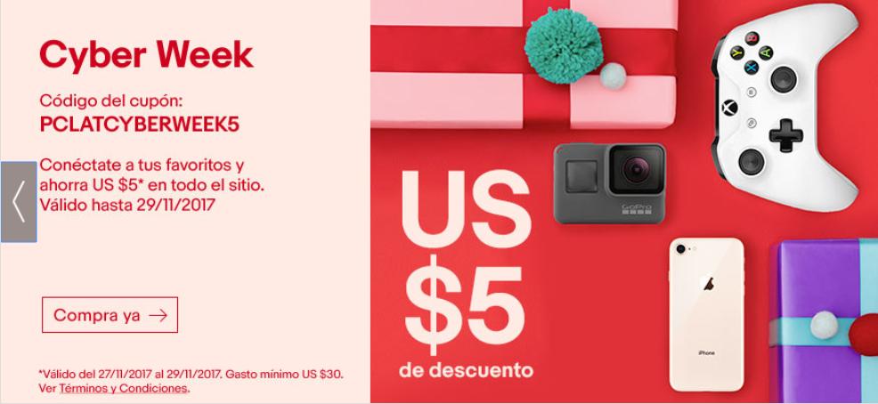 eBay: Cupón de $5USD de descuento