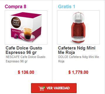 HEB ComboLoco: DOLCE GUSTO Compra 8 paq. café ($136 c/u) GRATIS Cafetera ($1,779)