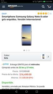 Cyber Monday 2017 Amazon: Samsung Galaxy Note 8 color gris orquídea. Versión Internacional