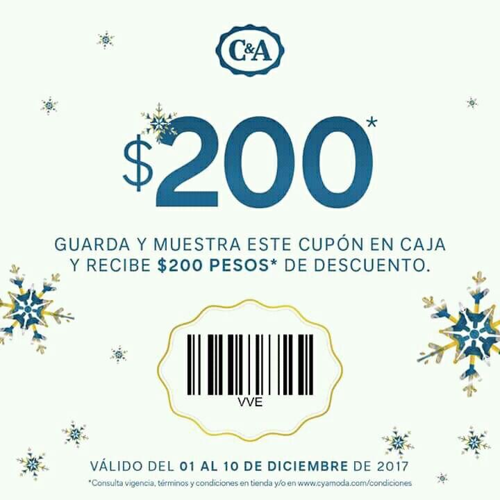 C&A: Cupón $200 de descuento en compras mayores de $1200