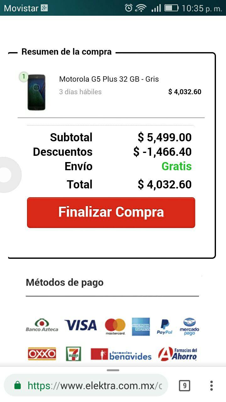 Cyber Monday 2017 Elektra: Motorola G5 Plus 32 GB - Gris