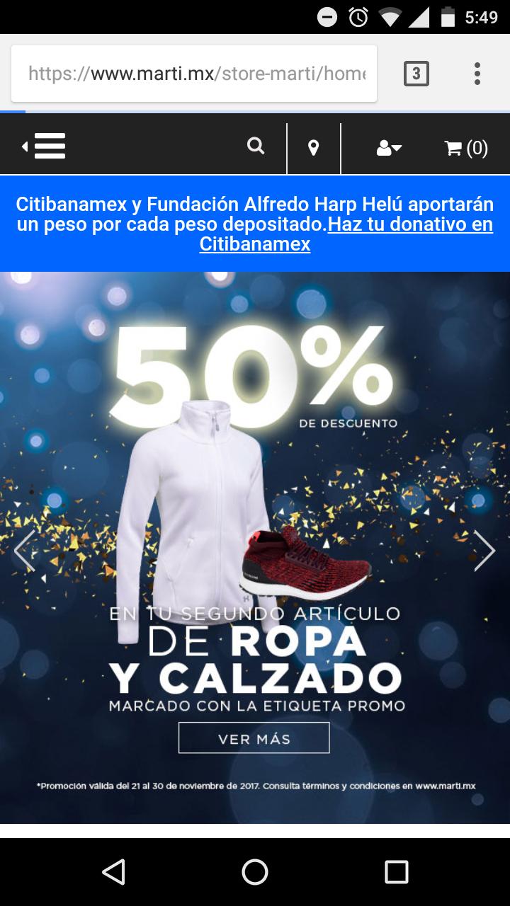 Martí: Segunda prenda o par al 50% de su valor