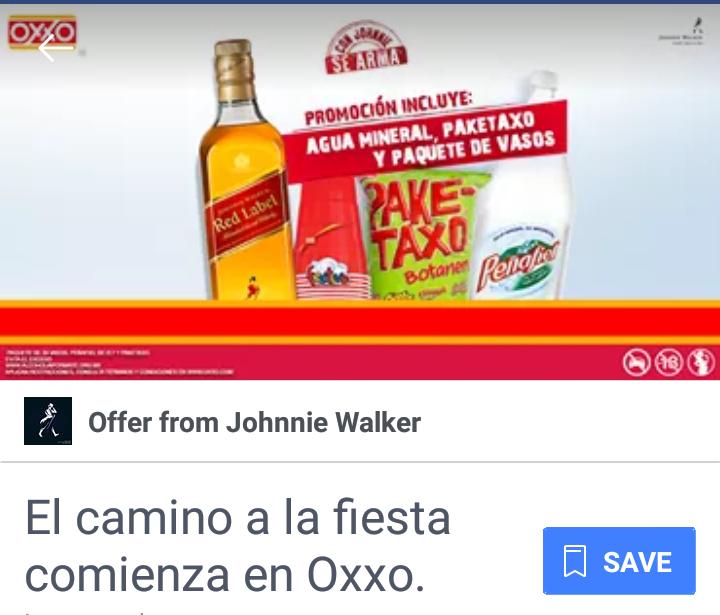 Oxxo: Promo Johnny Walker Red Label $299