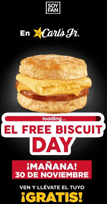Carl's Jr: Biscuit Gratis Jueves 30 de Noviembre (Nuevo Leon, Coahuila y Guanajuato)